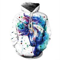 Gloria&Sarah Womens Mens 3D Digital Print Hoodies Unisex Realistic Cool Pullover Hoodies Hooded Sweatshirt with Pockets
