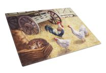 Caroline's Treasures BDBA0339LCB Rooster and Hens Chickens in the Barn Glass Cutting Board Large, 12H x 16W, multicolor