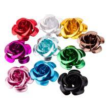 PH PandaHall 100pcs Aluminum Rose Flower, Tiny Metal Beads, Mixed Color, 15x9mm, Hole: 1mm