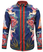 PIZOFF Mens Long Sleeve Luxury Print Dress Shirt
