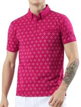 uxcell Men Casual Printed Regular Fit Pocket Short Sleeve Cotton Polo Shirt