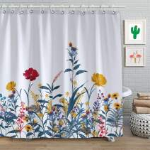 """FAITOVE Spring Floral Shower Curtain Red Yellow Flowers Bathroom Sets Waterproof Decor 71"""" x 71"""" Polyester Fabric"""