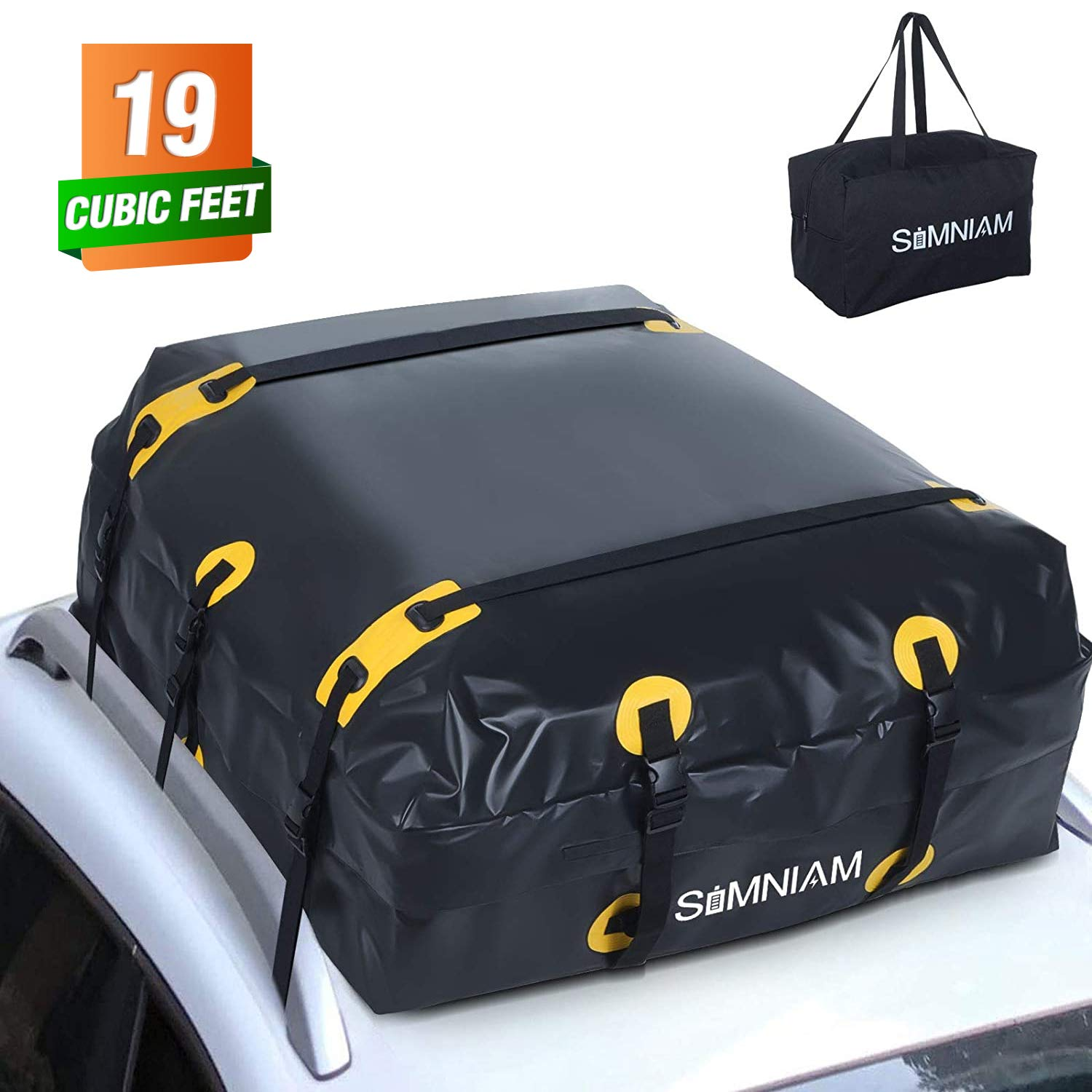 Simniam 19 Cubic Feet Car Roof Bag&Rooftop Cargo Carrier - 700D PVC Double Zippers Car Rooftop Bag with Storage Bag, 10 Reinforced Straps, Fit for Most Vehicles with Rack(No Slip Mat&No Hook)