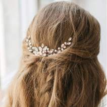 Jakawin Bride Wedding Pearl Hair Pins Bridal Hair Accessories Rose Gold Hair Piece for Women and Girls HP058