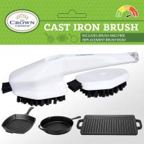 BEST Cast Iron Cleaning Brush with Free Replacement Head | Heavy Duty CastIron Cookware Griddle Cleaner Brushes