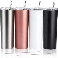 4 Pack Classic Tumbler Stainless Steel Double-Insulated Water Tumbler Cup with Lid and Straw Vacuum Travel Mug Gift with Cleaning Brush (Rose Gold/Black/White/Stainless, 20 oz)