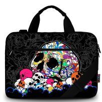 "ICOLOR 11.6-12 13 13.3-inch Laptop Shoulder-Bag - Canvas Computer Tablet Carrying Case 13-13.3 inch Notebook Briefcase (12"" ~13.3"", Black w/Skull)"