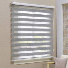Keego Window Blinds Custom Cut to Size, Blackout Grey Zebra Blinds with Dual Layer Roller Shades, [Size W 24 x H 64] Dual Layer Sheer or Privacy Light Control for Day and Night, 12 to 94 Wide