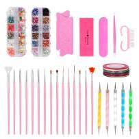 Nail Art Kit Decorations Include Painted pen,Nail Dotting Pen,Tape Line Nail Stickers,Colored Rhinestones,Sponge finger splitter, Polishing Segments,Mini nail file,Silicone embossing rod,Nail Brush