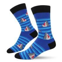SOCKFUN Novelty Funny Crazy Shark Whale Narwhal Crew Socks for Men