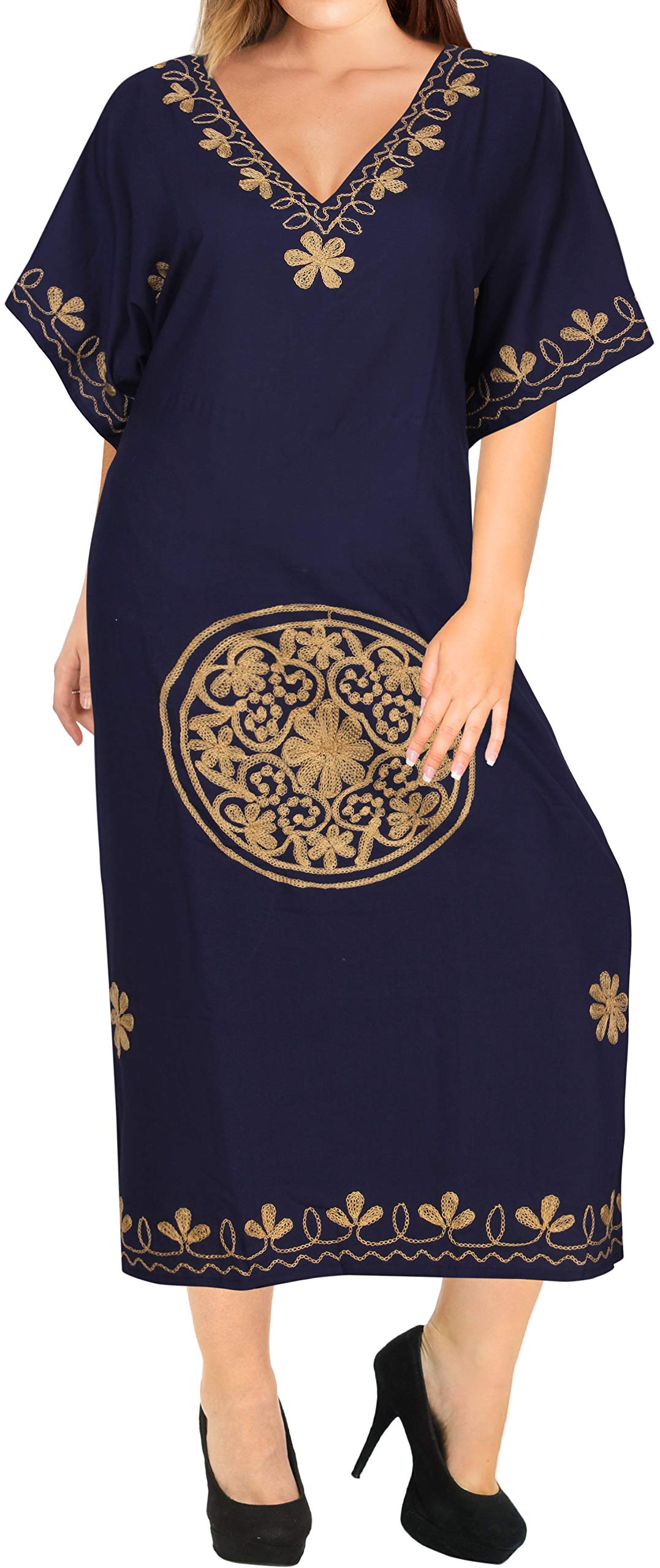 LA LEELA Women's Long Caftan Swimsuit Cover Ups Night Casual Dress Embroidered