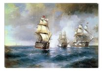 Startonight Canvas Wall Art Aivazovsky Brig Mercury Attacked By Two Turkish Ships 1894 Reproduction, Famous Painters Dual View Surprise Wall Art 31.5 X 47.2 Inch Original Art Painting!