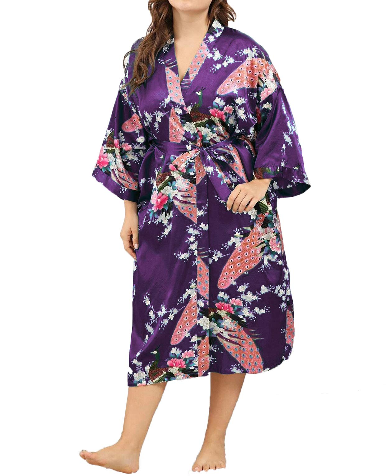 Womens Plus Size Robes Kimono Floral Peacock Satin Silk Bridesmaid 3/4 Sleeve Bathrobe
