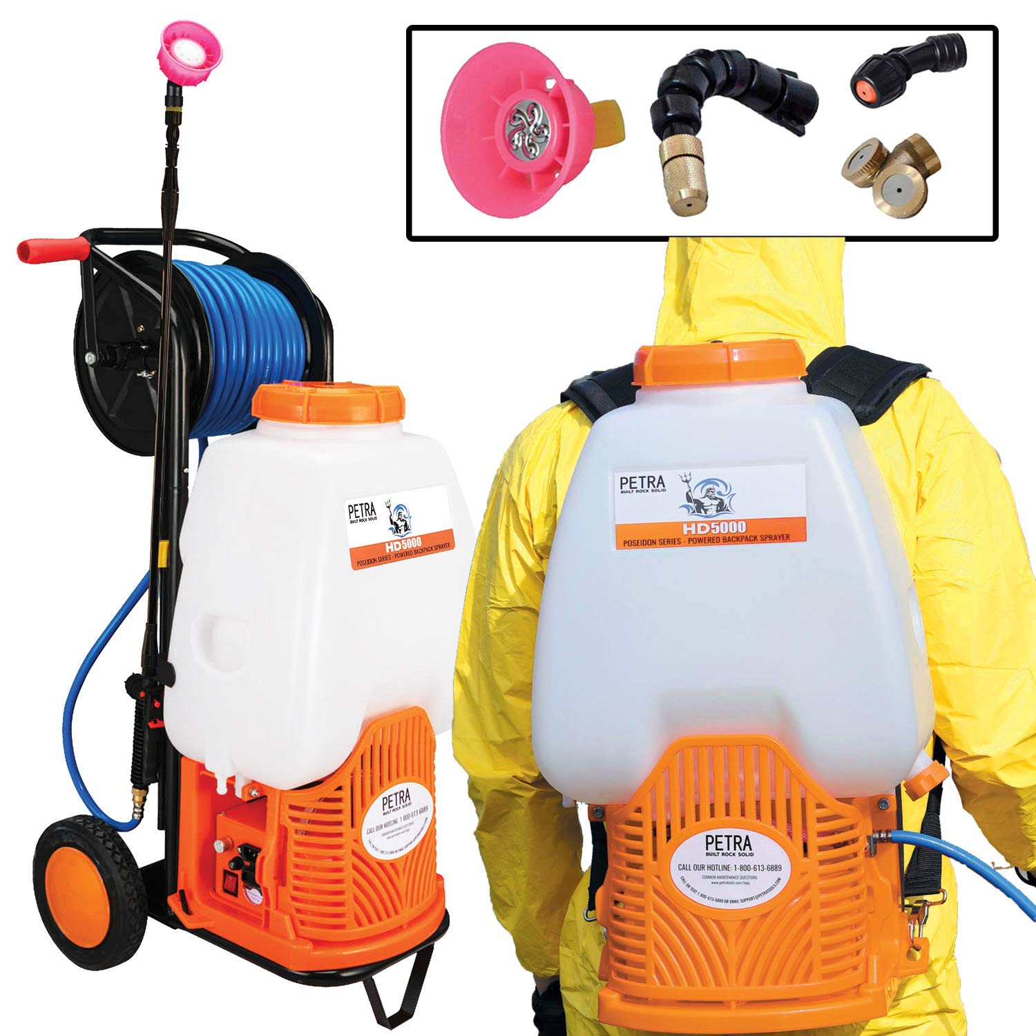 Petra Battery Backpack Sprayer with Custom Fitted Cart and 100 Foot Commercial Hose, 2 Hoses Included, Commercial Quality Heavy Duty Sprayer (HD5000 6.5-Gallon with Reel Cart)