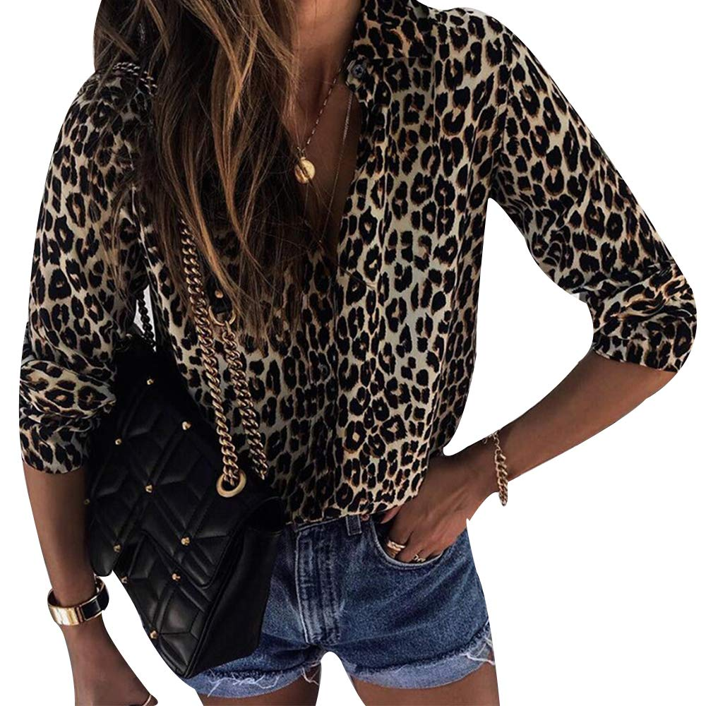 MoneRffi Womens Long-Sleeve-Shirts Leopard Print Round Neck Striped Color Block Raglan Comfy Casual Tunic Tops Blouse Shirts