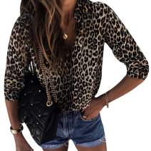 MoneRffi Women's Leopard Print Top Tunic Casual V Neck Blouse Long Sleeve Button Down Shirt Tops