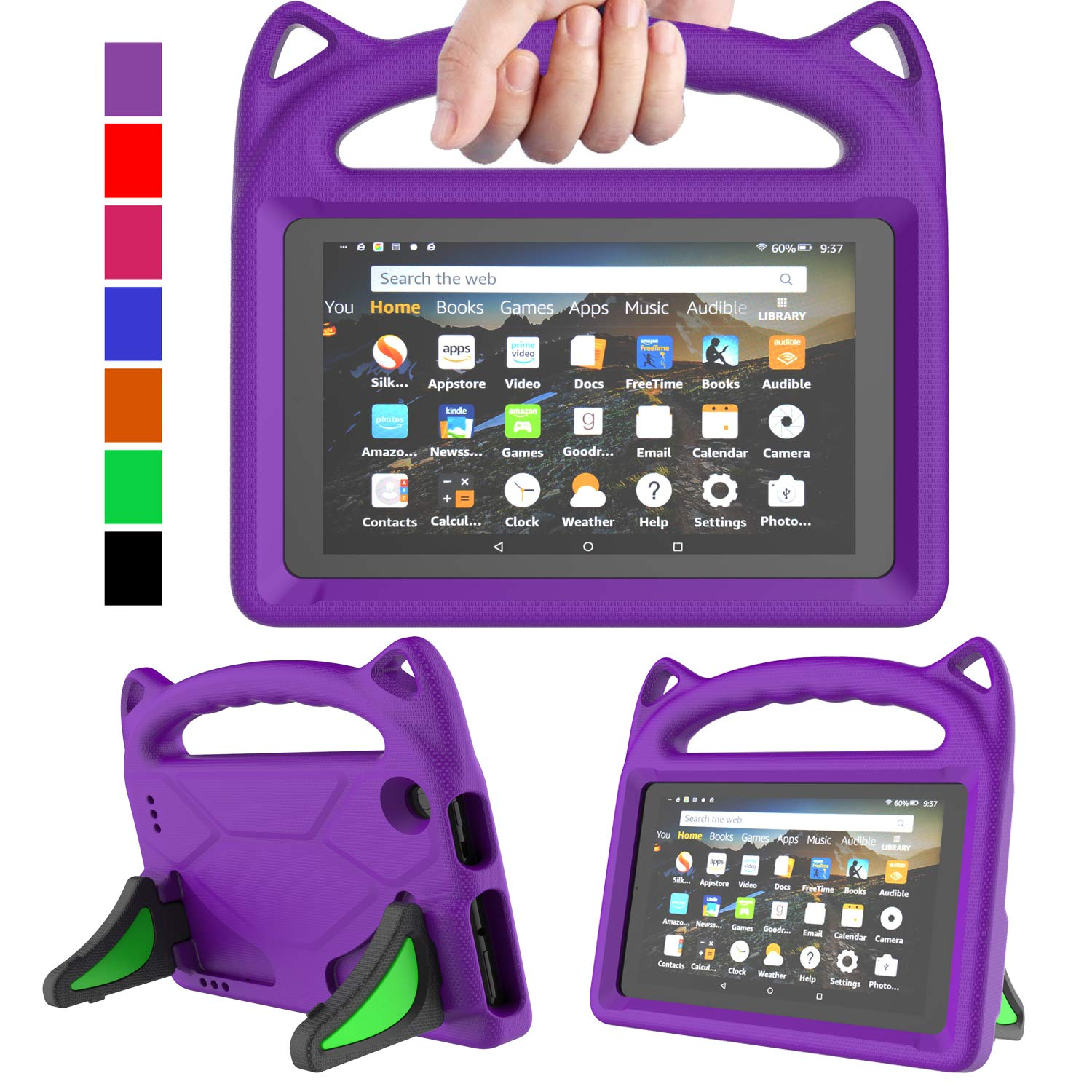 """MENZO Kids Case for All-New Fire 7 Tablet (9th Generation - 2019 Release), Light Weight Shockproof Handle Stand Kids Friendly Case for Amazon Fire 7 2019 & 2017 (7"""" Display), Purple"""