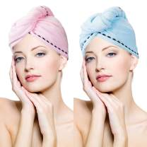 Microfiber Hair Towel Quick Magic Hair Dry Hat, Turban Twist Hair Towel Wrap Head Towel with Button, Quick Dry Super Absorbent for Long & Curly Hair, Anti-Frizz [2 Pack]