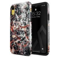 BURGA Phone Case Compatible with iPhone XR - Volcano Island Lava Fire Black Marble Cute Case for Woman Heavy Duty Shockproof Dual Layer Hard Shell + Silicone Protective Cover