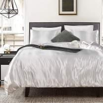 White Bedding Silk Like Satin Duvet Cover Set Silver White Quilt Cover Silky Microfiber Bedding Sets Queen (90x90) 1 Duvet Cover 2 Pillowcases (White, Queen)