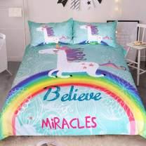 Sleepwish White Unicorn Bedding Rainbow Unicorn Duvet Cover 3 Piece Mint Green Kids Girls Cartoon Bed Set Cute Horse Gifts (King)