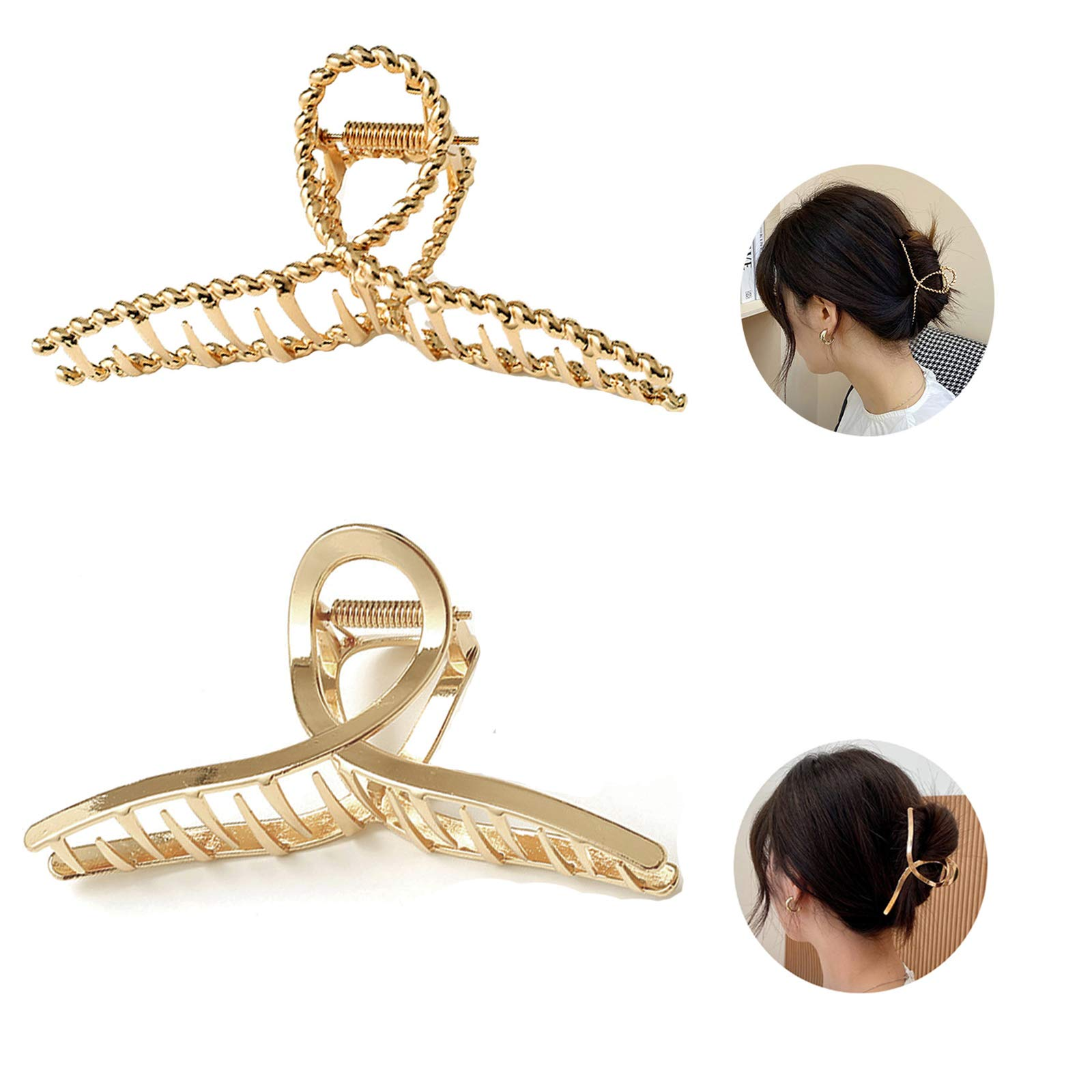 2Pcs Large Metal Hair Claw Clips Hair Catch Barrette Jaw Clamp for Women Half Bun Hairpins for Thick Hair