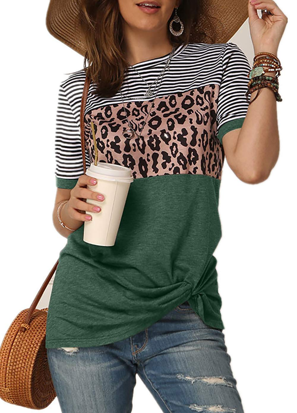 Necooer Womens Casual Crewneck Twist Knot Blouse Short Sleeve Color Block Fashion Striped Tops Shirts Loose Fit