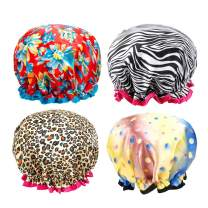 Shower Cap - 4 Pack Women Bath Cap Double Layer Print Shower Hat Long Hair Salon Spa Bathing Accessories For Women (Color Style A)