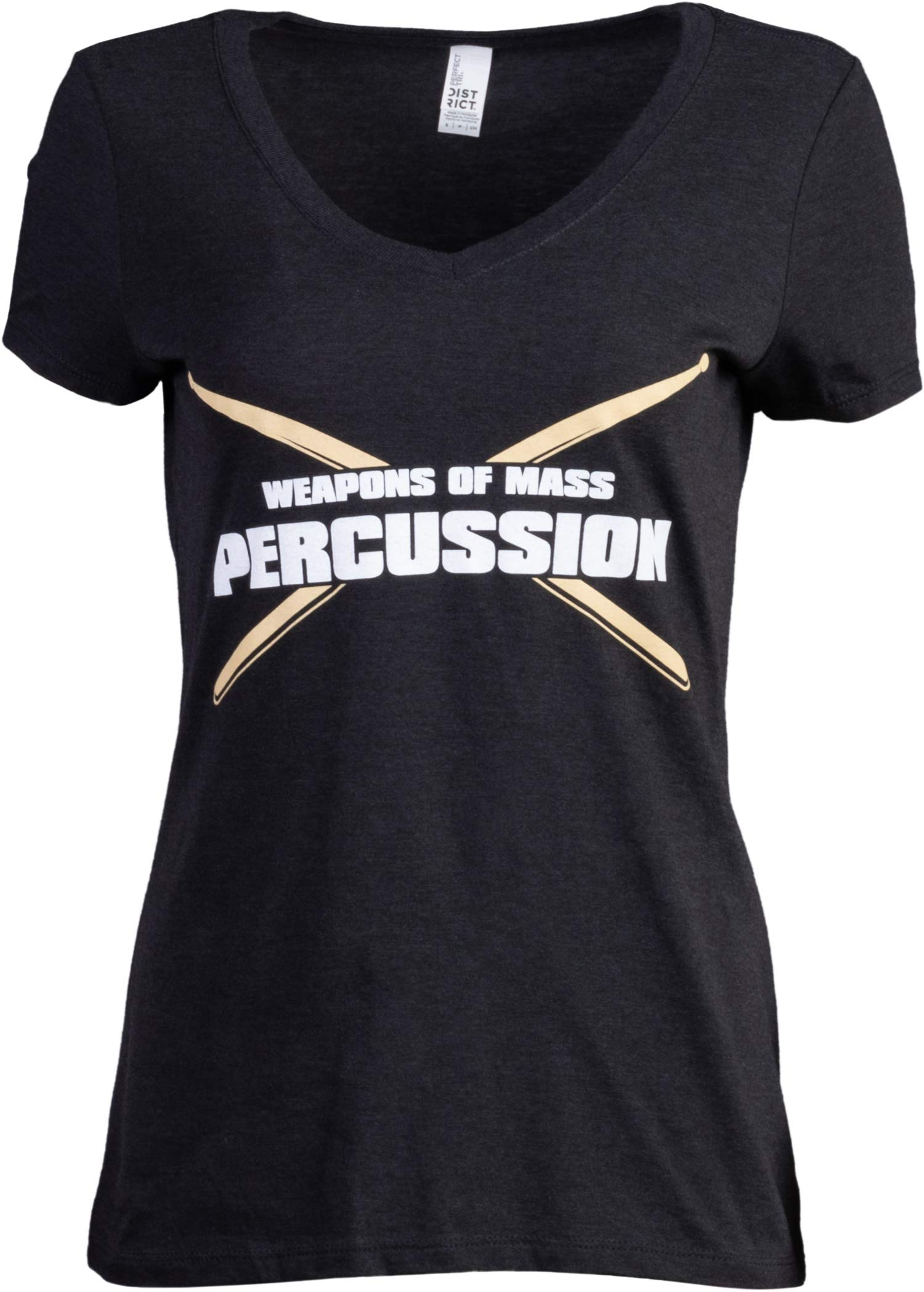 Weapons of Mass Percussion | Funny Drum Drummer Music Band Women's V-Neck T-Shirt