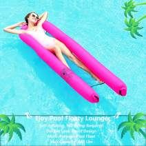 EJOY Pool Floats for Adults Inflatable Lounger Portable Floating Lounger Chair Water Hammock for Summer Swimming Pool Activity [Self Inflating, No Pump Needed] Compact Carry Bag Included Pink