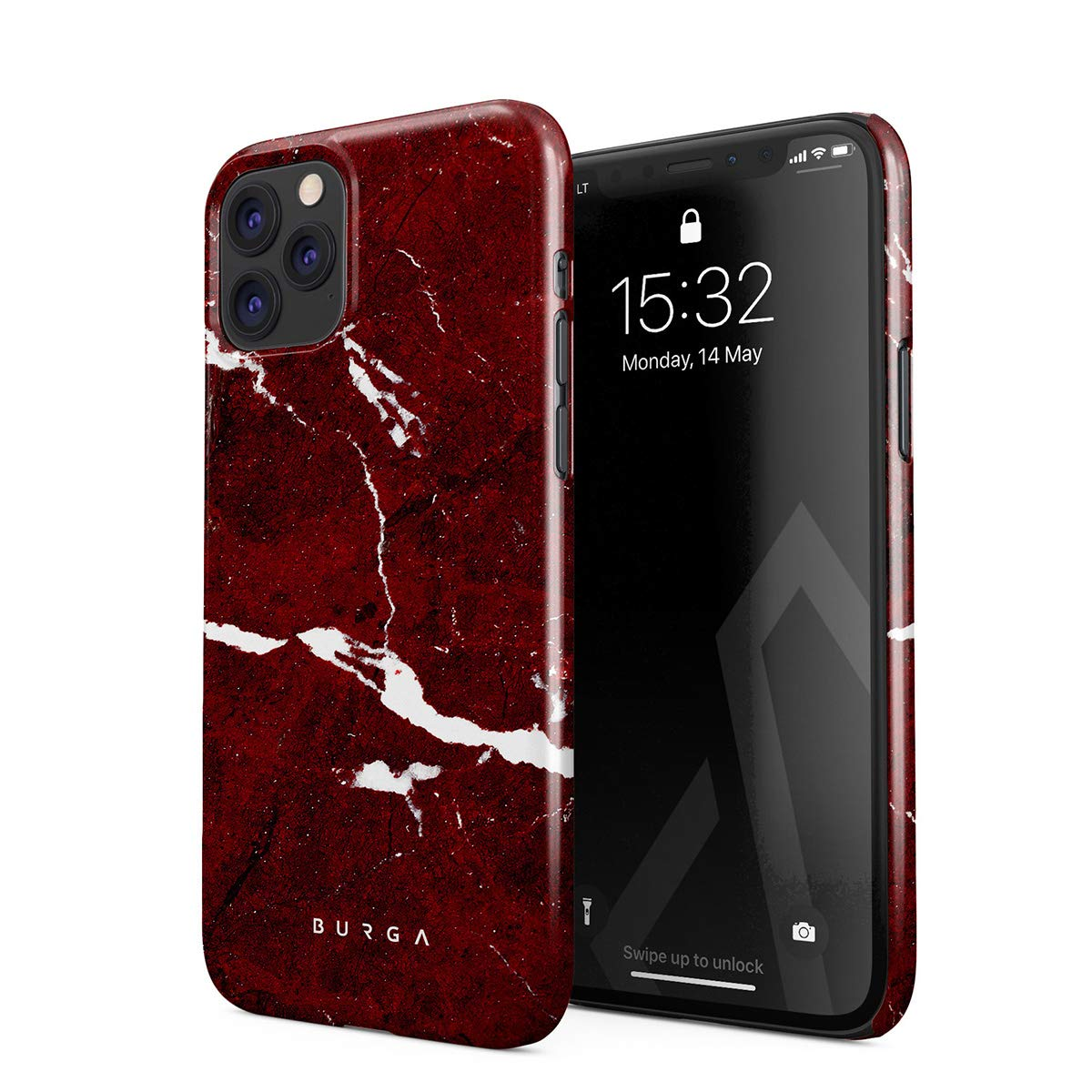 BURGA Phone Case Compatible with iPhone 11 PRO - Iconic Ruby Red Marble Cute Case for Women Thin Design Durable Hard Plastic Protective Case