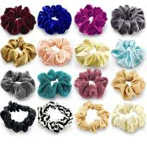 24 Pcs Large Scrunchies for Hair Elastic Hair Bands, Premium Scrunchy Hair Ties with Velvet, Silk, Neon, Cotton, Satin, Chiffon, Scrunchie Ponytail Holder No hurt, Soft for Women or Girls Hair Access