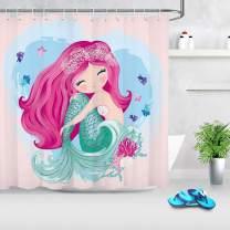 LB Cute Mermaid Shower Curtain Set Cartoon Girls Bathroom Curtain with Hooks Kids Bathroom Decorations 72x78 inch Extra Long Waterproof Polyester Fabric