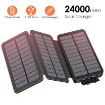 FEELLE Solar Charger 24000mAh, Solar Power Bank with 3 Solar Panels and Dual Fast Charging Outputs, External Battery Pack Outdoor Waterproof Phone Charger for iPhone, Samsung etc