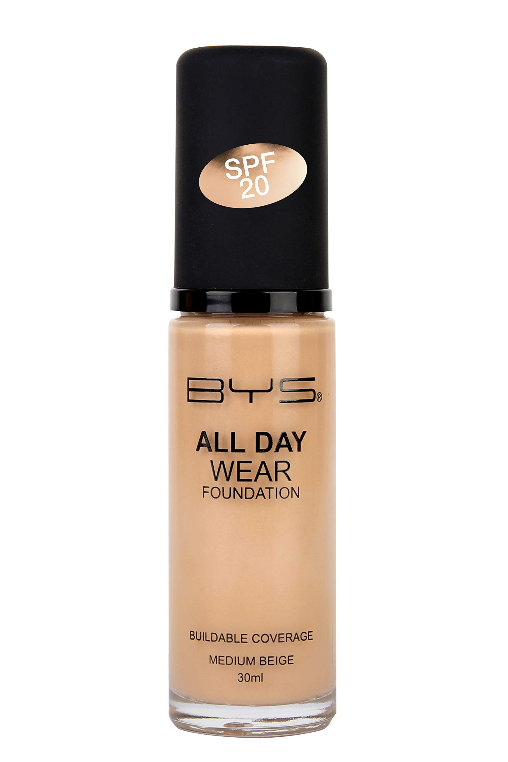 BYS All Day Wear Liquid Foundation Medium Beige - flawless base lasts all day no cake or flake buildable coverage Argan Oil antioxidant Vitamin E Peptides Vitamin C Hyaluronic Acid
