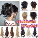 """Messy Clip in Ponytail Extensions with Braids Synthetic Hair Fluffy Jaw Claw Clip on Pony Tail Hairpiece Bendable Updo Style Layered Ponytails with Adjustable Wires 12"""" 12# Brown"""