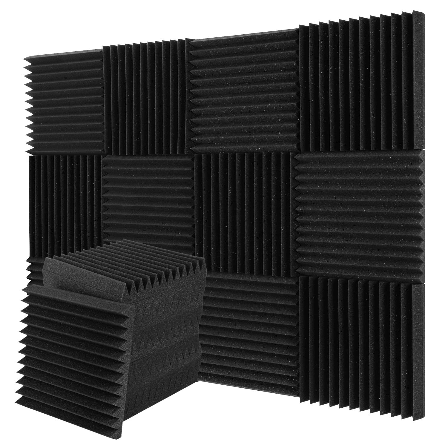 Donner 12-Pack Acoustic Foam Panels Wedges, Fireproof Soundproofing Foam Noise Cancelling Foam for Studios, Recording Studios, Offices, Home Studios 2'' x 12'' x 12''