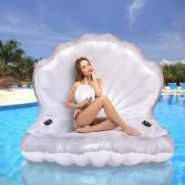 Popsport Unicorn Pool Float Party Bird Island Unicorn Float with Carrying Bag and Bump 6 People Giant Floats for Adults Use in Lake Island Ocean Pool Loungers (Seashell)