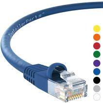 InstallerParts Ethernet Cable CAT6 Cable UTP Booted 50 FT - Blue - Professional Series - 10Gigabit/Sec Network/High Speed Internet Cable, 550MHZ
