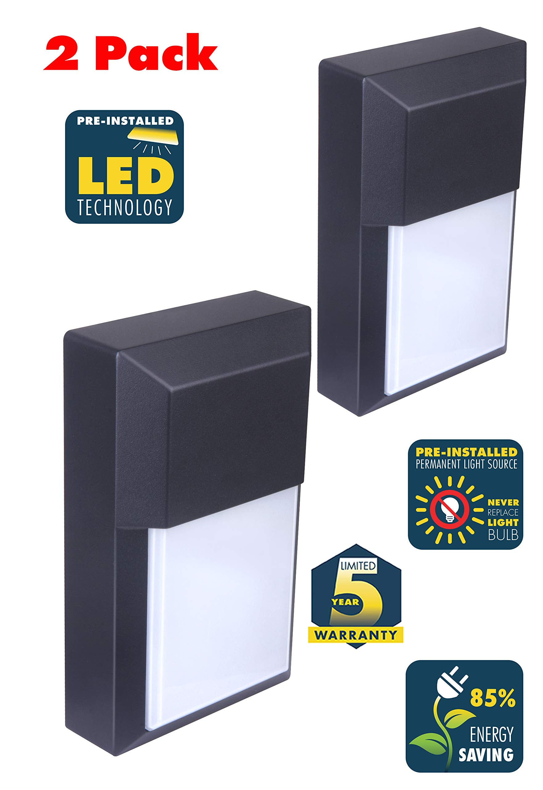 CORAMDEO Commercial and Residential Outdoor LED Wall Pack Light, Wet Location, Built in LED Gives 100W of Light from 12W of Power, Black Cast Aluminum with White PC Lens 2 Pack