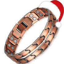 Rainso Mens Copper Double Row Magnetic Therapy Health Bracelet Pain Relief for Arthritis Adjustable