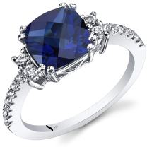 Peora Created Blue Sapphire Ring with White Topaz in 14 Karat White Gold, 3 Carats, Cushion Cut, 8mm, Sizes 5-9