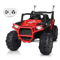 BAHOM 12V Electric Ride on Truck Car 2 Seats for Kids with Parental Remote Control, LED Light MP3/Bluetooth Music Player, Easy to Assemble (Red)