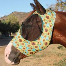Professional's Choice Sports Medicine Products Comfort Fly Lycra Mask Horse Face Mask Oversized Sunflower