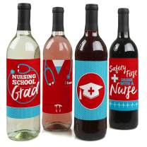 Nurse Graduation - Medical Nursing Graduation Party Decorations for Women and Men - Wine Bottle Label Stickers - Set of 4