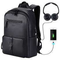 "Bageek Backpack for Men, 15.6"" Laptop Backpack Mens Backpack with USB Charging Port PU Leather Backpack Black"