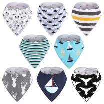 8-Pack Baby Boy Bibs - Kirecoo Baby Bandana Drool Bibs for Drooling and Teething, 100% Organic Cotton and Super Absorbent Bibs for Baby Boys, Baby Shower Gift