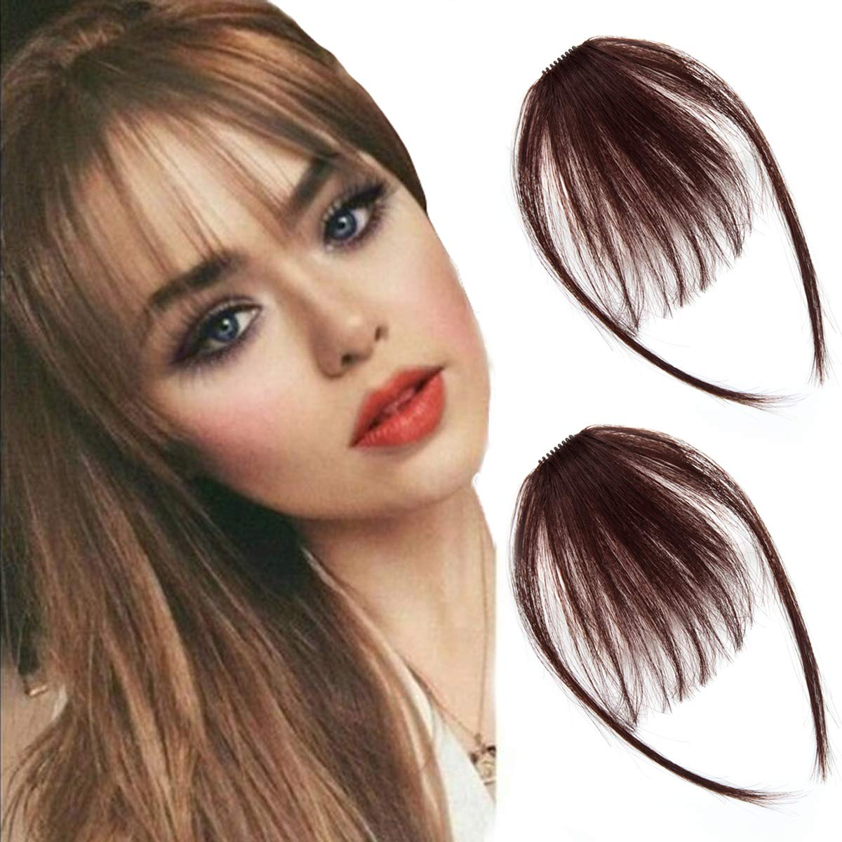 careonline 2PCS Clip in Bangs Real Human Hair Bangs Extensions Remy Hair Air Bangs with Temples Dark Brown Bangs One Piece Clip in Fringe Hair Extensions for Women
