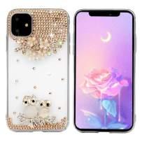 iPhone 11 Case, Mavis's Diary 3D Handmade Luxury Bling Parent-Child Owl Golden Flowers Shiny Crystal Diamond Glitter Rhinestone Gems Clear Hard PC Cover for iPhone 11