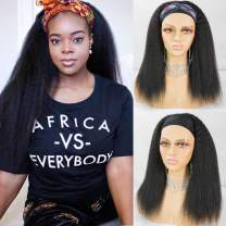 Kinky Straight Headband Wigs Italian Yaki Human Hair Wig for Black Women Easy to Wear Wig with Black Headband 150 Density #NC 16inches